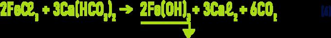 Formule : chlorure ferriquedans une eau bicarbonatée