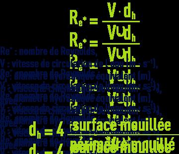 Formule : Structure des décanteurs - nombre de Reynolds