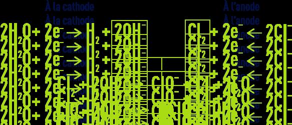 Formule : Electrochloration - réactions principales électrochimiques
