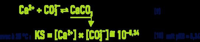 Formule : pHS - équilibres et constantes thermodynamiques équilibre dissolution - précipitation du carbone de calcium