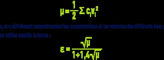 Formule : pHS - équilibres et constantes thermodynamiques - force ionique