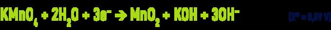 Formule : permanganate en milieu neutre ou alcalin