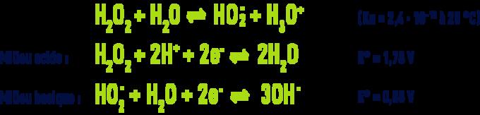 Formule : peroxyde hydrogène en milieu acide et basique