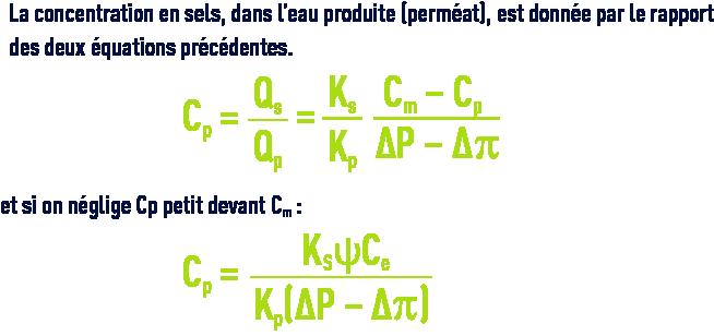 Formule : membranes dessalement - concentration des sels dans l'eau produite