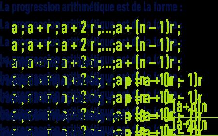 formule : algèbre - arthmétique - progression arithmétique