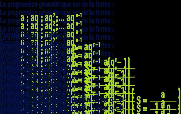 formule : algèbre - arthmétique - progression géométrique