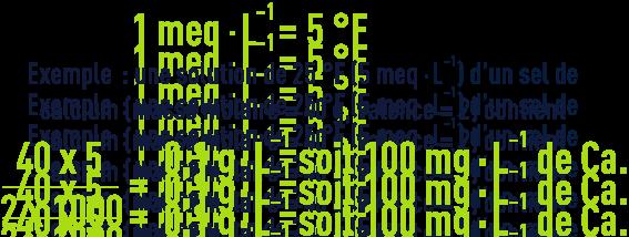 Formule : Degré français - concentration d'une solution N/5 000