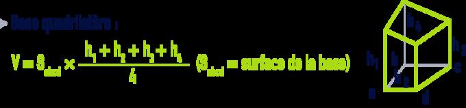 formule : formules géométrie - tronc de prisme base quadrilatère