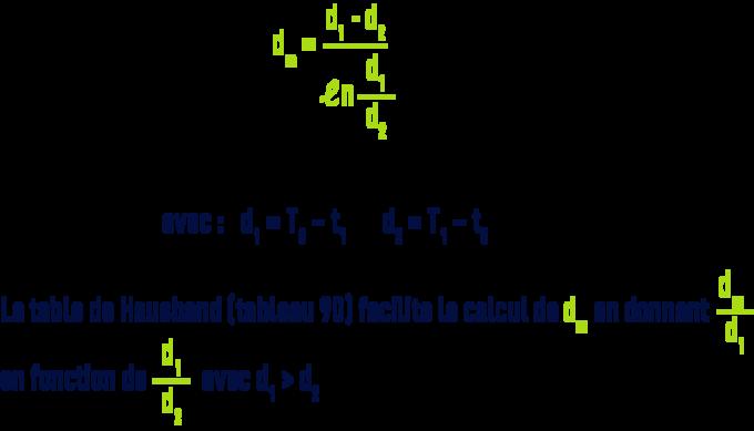 formule : Notions d'échange de chaleur - moyenne logarithmique