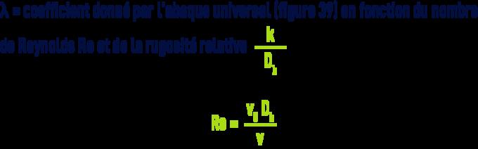 Formule : Pertes de charge pour un fluide quelconque - rugosité relative