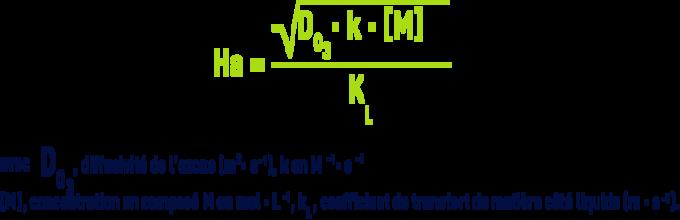Formule : Critères de choix des réacteurs d'ozonation - réaction irréversible d'ordre 2