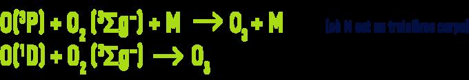Formule : génération d'ozone - dissociation de l'oxygène moléculaire