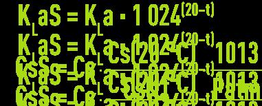 Formule : systèmes aération - capacité d'oxygénation - passage valeurs d'essai en eau claire aux valeurs en conditions standards