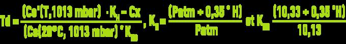 Formule : systèmes aération - coefficient déficit en oxygène - hauteur de la colonne d'eau