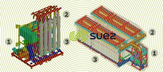 Prétraitement des eaux de mer avec des modules d'ultrafiltration out/in sous pression - Ultramarine Smartrack schema